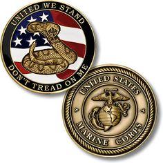 Don't Tread on Me - Marine Challenge Coin - Meach's Military Memorabilia & Veterans Discounts, Military Discounts, Marine Mom, Marine Corps, Coin Collecting Books, Military Challenge Coins, Police Flag, Military Memorabilia, Custom Lapel Pins