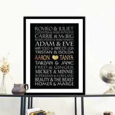 Famous Couples Custom design,Gold and Silver Art Print, Couples names, Modern Wedding engagement gift,Wall Art, modern art Room Décor - pinned by pin4etsy.com