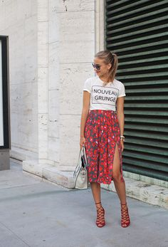 Where do you work? Model and BloggerWhat show are you going to? Custo BarcelonaWhat are you wearing? Zara(top), Topshop(skirt), Schutz(shoes), Celine(bag), and Miu Miu(sunglasses). via StyleList