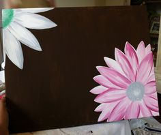 """acrylic painting """"Flowers"""" 16 x 20 on canvas Can add another flower or quote in the middle! Diy Canvas Art, Canvas Crafts, Canvas Ideas, Acrylic Painting Flowers, Painted Flowers, Easy Paintings, Canvas Paintings, Photoshop, Painting Inspiration"""