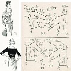 Sewing patterns free tops blouses patron de couture 27 ideas for 2019 Barbie Patterns, Dress Sewing Patterns, Blouse Patterns, Vintage Sewing Patterns, Clothing Patterns, Skirt Patterns, Pattern Sewing, Coat Patterns, Barbie Vintage