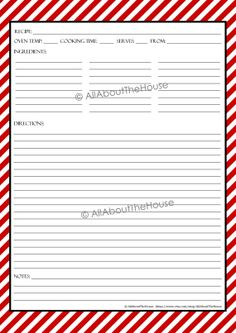EDITABLE - Printable Stripe Recipe Template Recipe Card Recipe Organisation Recipe Binder Recipe Box Cooking Printable Recipe Album Kitchen Purchase here: https://www.etsy.com/au/listing/178071843/editable-printable-stripe-recipe?ref=shop_home_active_1