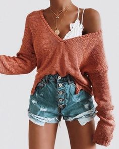 Hot Mama High Rise Distressed Denim Shorts - Summer Outfits for Work Cute Comfy Outfits, Teen Fashion Outfits, Mode Outfits, Cute Casual Outfits, Short Outfits, Outfits For Teens, Look Fashion, Summer Outfits, Summer Shorts