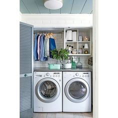 Small Laundry Room Remodeling and Storage Ideas ❤ liked on Polyvore featuring home, home improvement and storage & organization