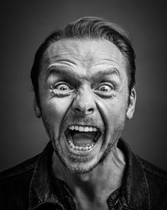 Gotts on Simon Pegg - English actor, comedian, screenwriter and film producer. Photo by Andy Gotts:Simon Pegg - English actor, comedian, screenwriter and film producer. Photo by Andy Gotts: Black And White Portraits, Black And White Photography, High Contrast Photography, Andy Gotts, Simon Pegg, Too Faced, Face Expressions, Celebrity Portraits, Actors