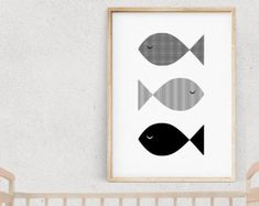 Black and White FISH Nursery Print, KIDS Illustration, Nautical Kids Poster, Monochrome Wall Art, Modern Nursery Art, Baby Room Decor
