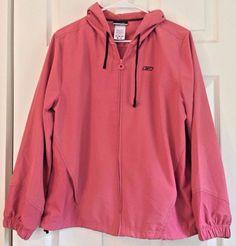 Reebok Windbreaker Athletic Jacket Hooded Size L Dusty Rose Zip Close Breathable #Reebok #Windbreaker #Casual