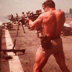 Navy Seal shooting from an aircraft carrier. 1970's http://ift.tt/2jQI0rU
