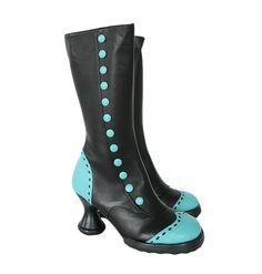 Raspberry Heels: Fluevog   Minis   Babycake [Black + Aqua]