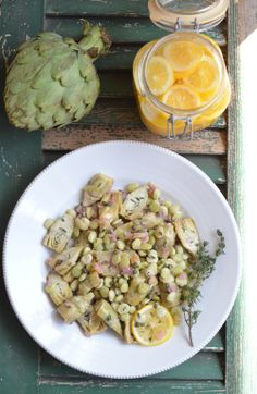 Baby Artichokes & Lima Beans in White Wine, Moroccan Meyer Lemon Preserves, Saffron & Capers Sauce
