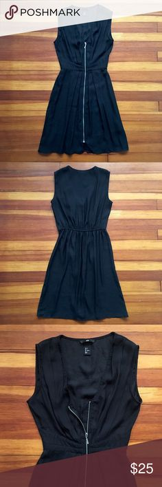 Little black dress Little black dress with full length front zipper. This dress is fitted at the bust and waist then flows away from the body. In great condition! H&M Dresses