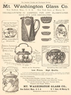 Mt Washington Glass Company Advertisement