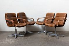 Pollock Style Set of 4 Leather Artifort Swivel Arm Chairs