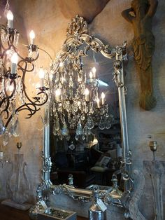 Large French Style Decorative Mirror - Silver Leaf Finish