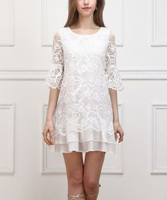 White Butterfly Lace Ruffle-Hem Dress