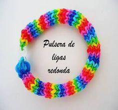 pulseras-de-ligas-redondas / round rubber band bracelets without the rainbow loom