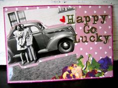 #ATC (artist trading card) inspiration was the vintage photo of a happy couple
