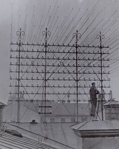 Dozens of telephone wires on roofs, Stockholm, Sweden, between 1890 and 1900