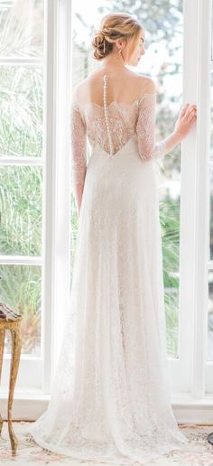 Vintage inspired lace Jenny Yoo wedding dress with calssic illusion details