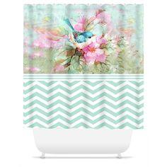 Shower Curtain.  Watercolor Bird Chevron Shower Curtain