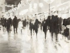 Abstracted city scene of figures walking about at night. Nightlife Wall Art by Ethan Harper from Great BIG Canvas. Black Wall Art, Black White Art, Framed Prints, Canvas Prints, Art Prints, Canvas Frame, Big Canvas, Abstract City, Best Paint Colors