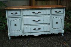 Blue dresser redo.  Primitiveandproper.blogspot.com