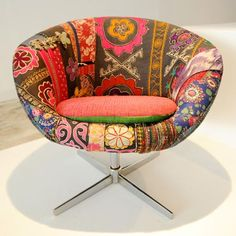 Lebanese designers Huda Baroudi and Maria Hibri of Bokja presented a collection of found furniture pieces upholstered in vintage Middle Eastern fabrics