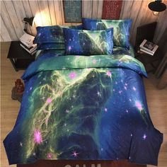 New Galaxy bedding sets Twin/Queen Size Universe Outer Space Themed Bedspread Bed Linen Bed Sheets Duvet Cover Set