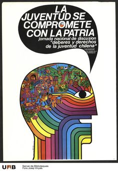 """""""The youth is committed to the motherland"""" - Chile, 1971 Victor Jara, Post Contemporary, Political Posters, Image Macro, Vintage Ads, Popular, Graphic Prints, American Art, History"""