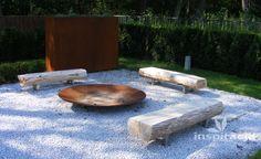 Small Backyard Landscaping, Fire Pit Backyard, Modern Landscaping, Landscape Stairs, Landscape Design, Garden Design, Zen Rock Garden, Gravel Garden, Back Gardens