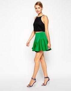 ASOS | ASOS Skater Skirt With Fluting In Scuba at ASOS