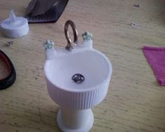 How to make miniature dollhouse sink using cap, snap as a drain and cup hook as the faucet