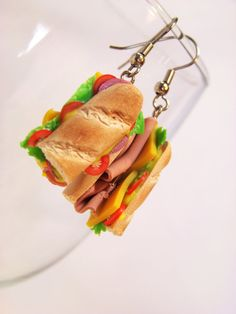 Miniature Food Earrings Food Jewelry Sub Sandwich by kawaiibuddies,