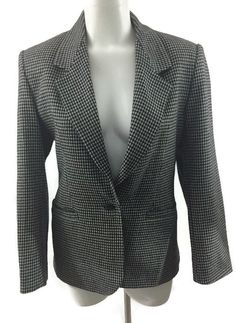 The Villager Houndstooth Black & Gray Blazer Wool Blend Lined Womans Size 10  | eBay