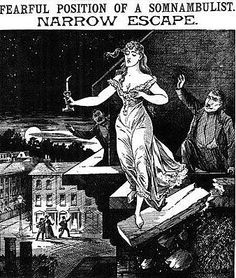 """The Illustrated Police News """"Fearful position of a somnambulist narrow escape"""""""