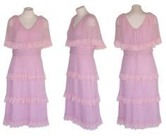 60s Dress MISS ELLIETTE Vintage Pleated Pink Dress Great Gatsby M Free Domestic and Discounted International Shipping