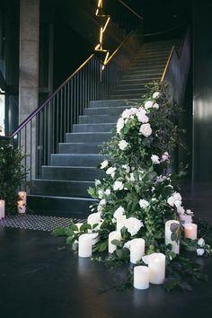 15 Wedding Staircase Decor Ideas for an Ultra Glamorous Affair - Belle The Magazine Wedding Ceremony Ideas, Wedding Trends, Wedding Designs, Wedding Stairs, Wedding Entrance, Floral Wedding, Wedding Flowers, Wedding Colors, Garden Wedding Decorations