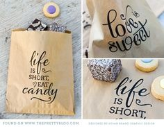 "Free printables -Candy bags ""life is short eat candy"" favor bags for gifts (Christmas?) or for wedding or birthday party Wrapping Ideas, Gift Wrapping, Food Gifts, Diy Gifts, Handmade Gifts, Little Presents, Ideias Diy, Candy Bags, Goodie Bags"