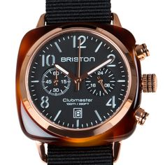 Clubmaster Chronograph (tortoise/black) watch by Briston. Available at Dezeen Watch Store: www.dezeenwatchstore.com