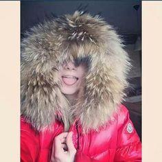 Fur hooded jacket framed