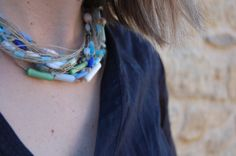 Necklace linen eco thread glass beads murano blue by espurna88, €27.80