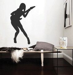 ik2604 Wall Decal Sticker sexy girl with rock guitar heavy lounge music store