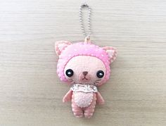 Felt Keychain -  Kawaii - cat plush