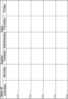 www.preschoolprintables.com / Lesson Plans. 5 day a week lesson plan sheet