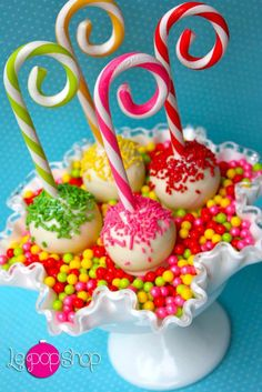 """Colorful Candy Cane Cupcake """"Pops"""" ... FROM…"""