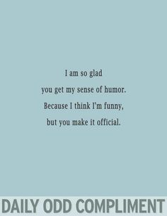 Daily Odd Compliment: I am so glad you get my sense of humor, because I think I'm funny, but you make it official. I Got You, Just For You, Funny Compliments, Bon Entendeur, Megan Maxwell, Mrs Always Right, Funny Quotes, Funny Memes, That's Hilarious