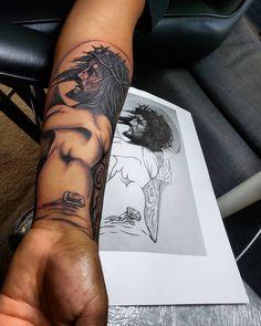 101 Amazing Jesus Tattoos You Need To See! Jesus Forearm Tattoo, Jesus Tatoo, Jesus Tattoo Sleeve, Christ Tattoo, Forearm Sleeve Tattoos, Arm Band Tattoo, Tattoos For Guys Badass, Neck Tattoo For Guys, Jesus Tattoo Design