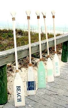 Painted oars for home decor: