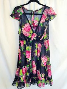 Betsy Johnson Intimates Sheer Floral Babydoll Ruffled Nightie Black Pink 1X #BetseyJohnson #BabydollChemise