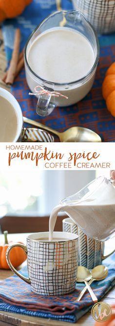 Homemade Pumpkin Spice Coffee Creamer / fall baking, pumpkin spice recipe via inspiredbycharm.com